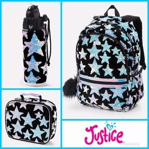 Justice Backpack Flip Sequin Stars Velvet Bundle